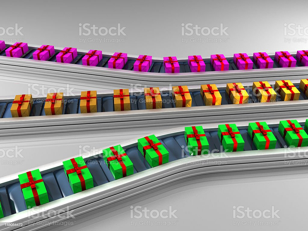 Triple row production line with gifts royalty-free stock photo