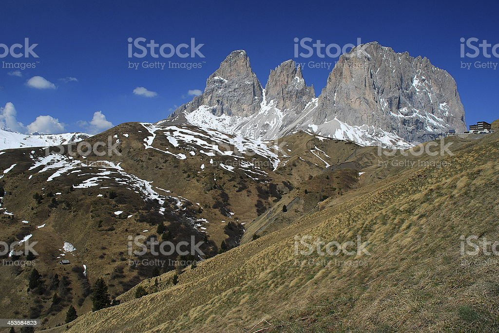Triple shear mountain peak at the Italian Dolomite stock photo