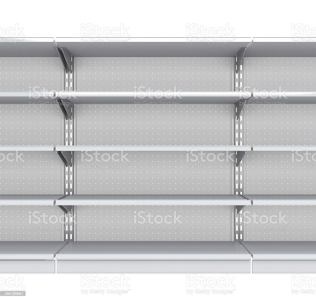 triple supermarket shelf on white stock photo