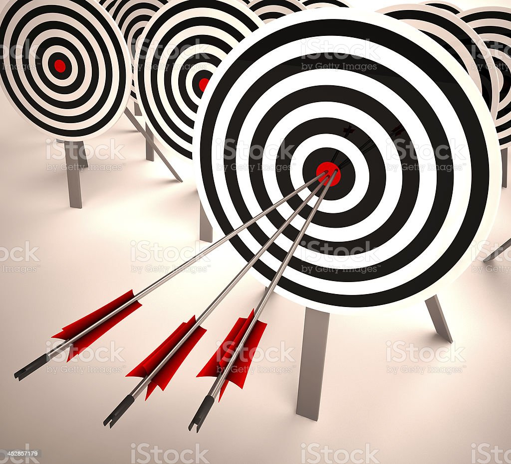 Triple Target Shows Accuracy, Aim And Skill royalty-free stock photo
