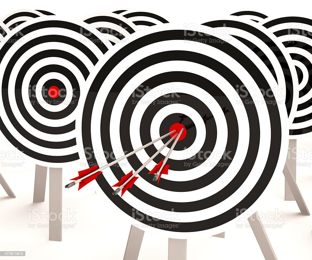 Triple Target Shows Winning Shot And Achievement royalty-free stock photo