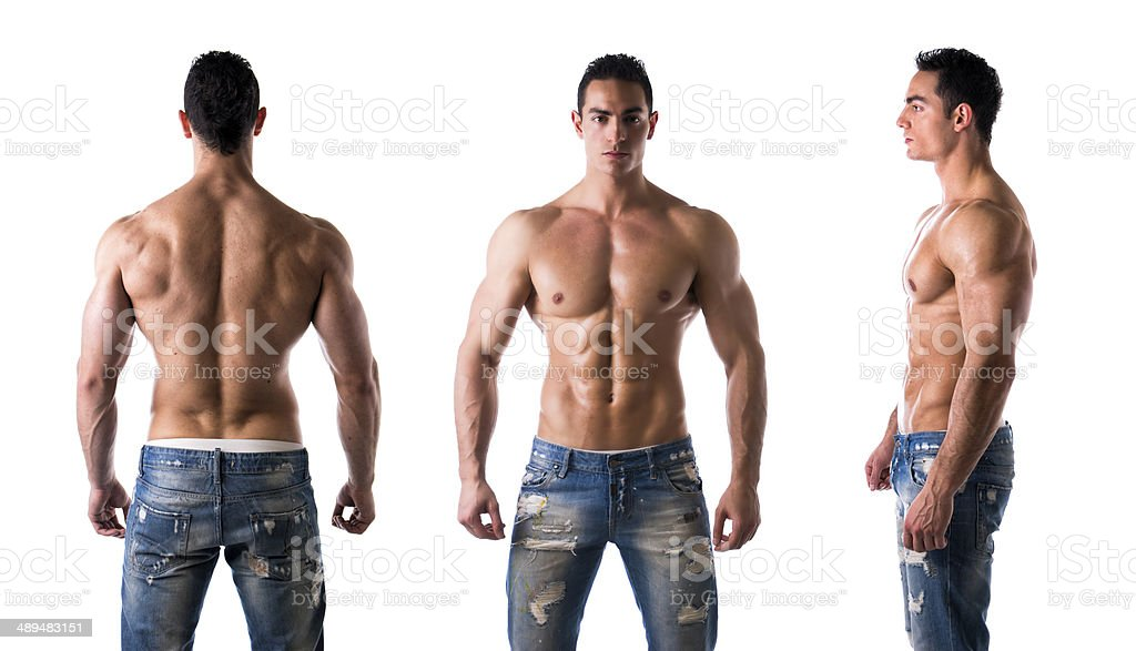 Triple view of shirtless bodybuilder: back, front, side stock photo