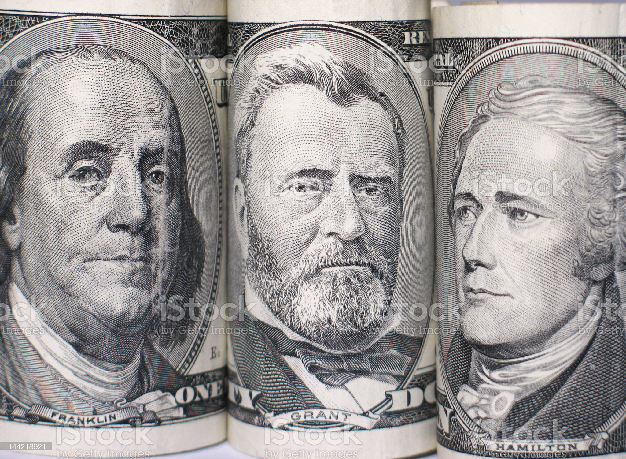 Triplet of banknote portraits royalty-free stock photo