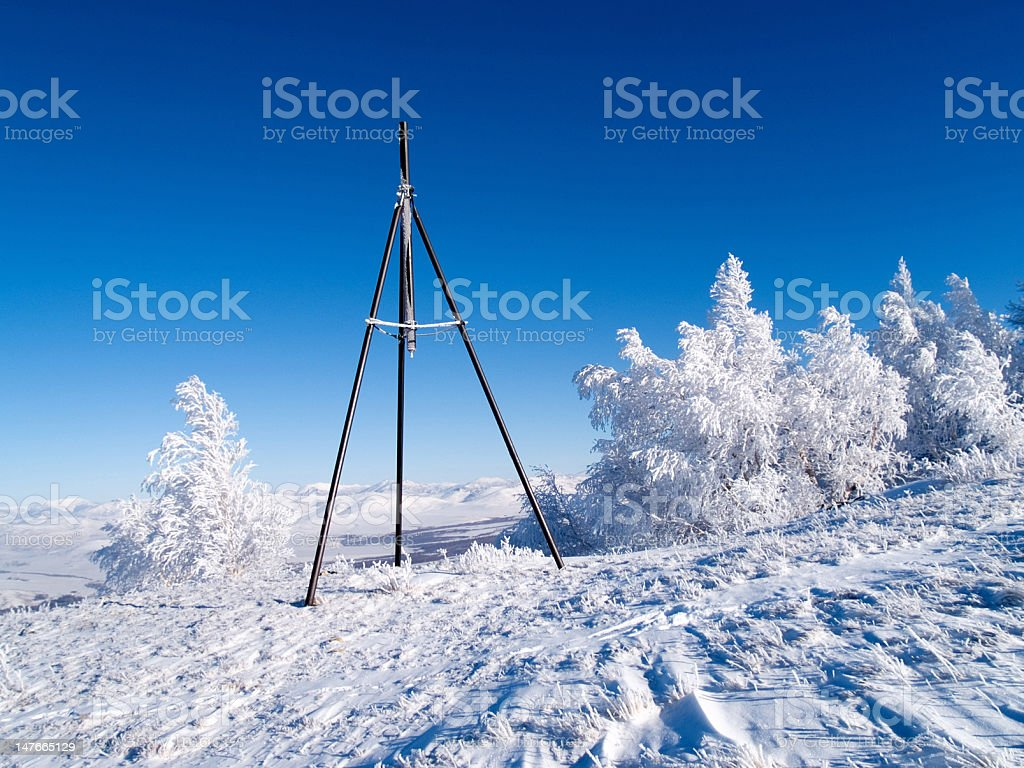 tripod and winter wood royalty-free stock photo