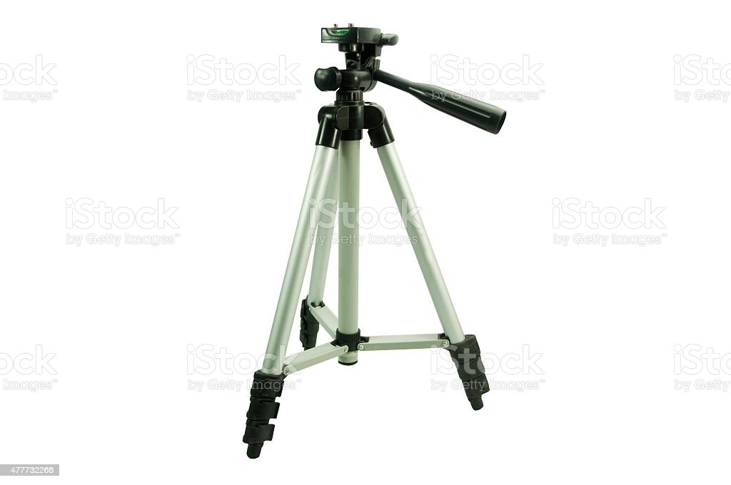 tripod camera isolated on white background. stock photo