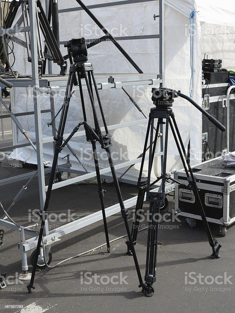 Tripé para fotografia e as câmaras de vídeo, cena equipamento foto de stock royalty-free