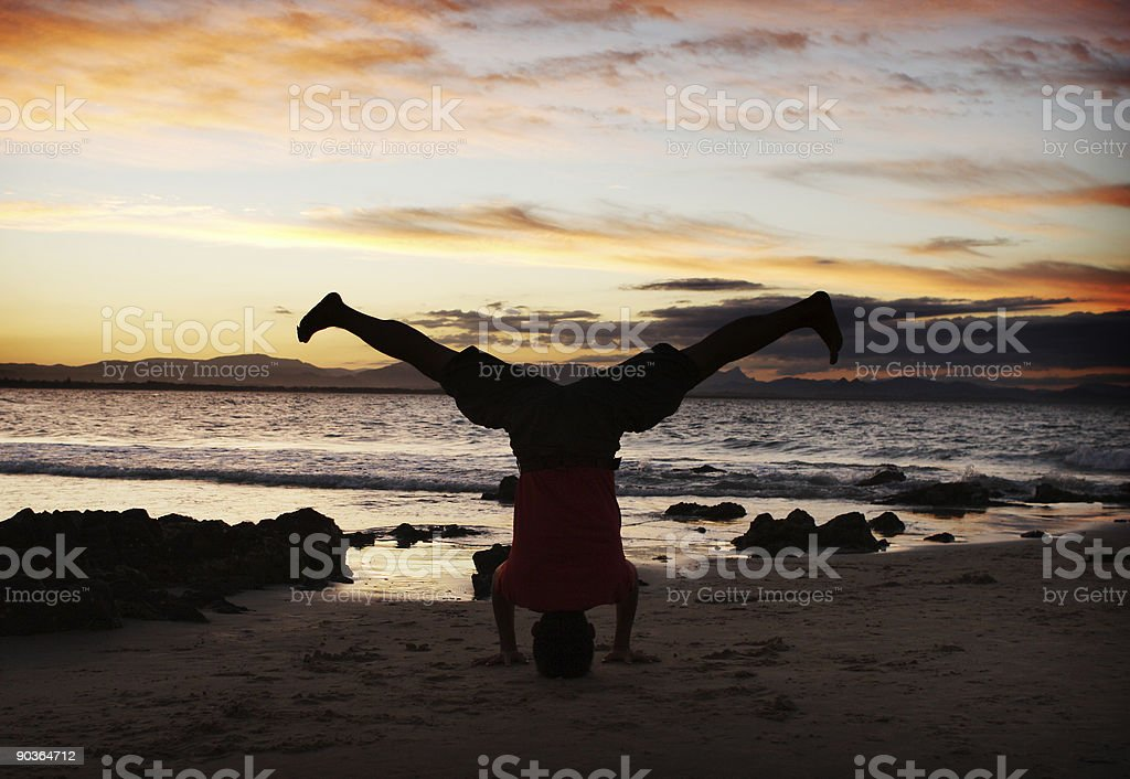 Tripod Headstand royalty-free stock photo