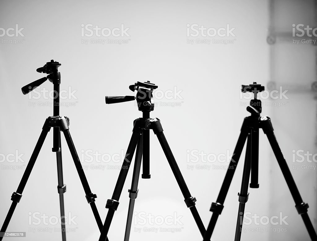 Tripods. Black and White stock photo