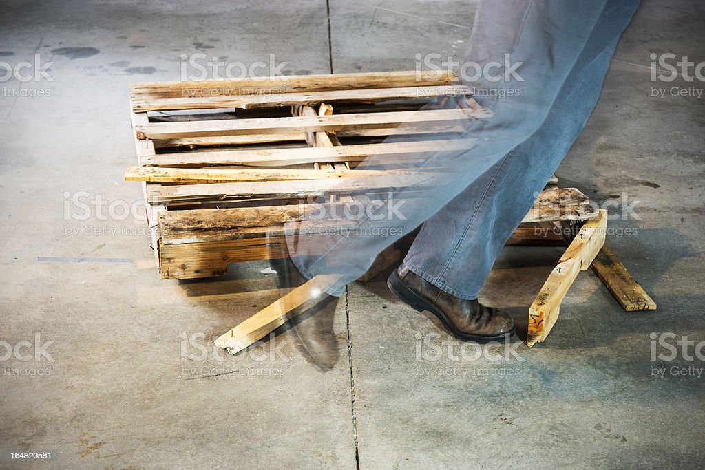 Tripping hazard in a warehouse royalty-free stock photo