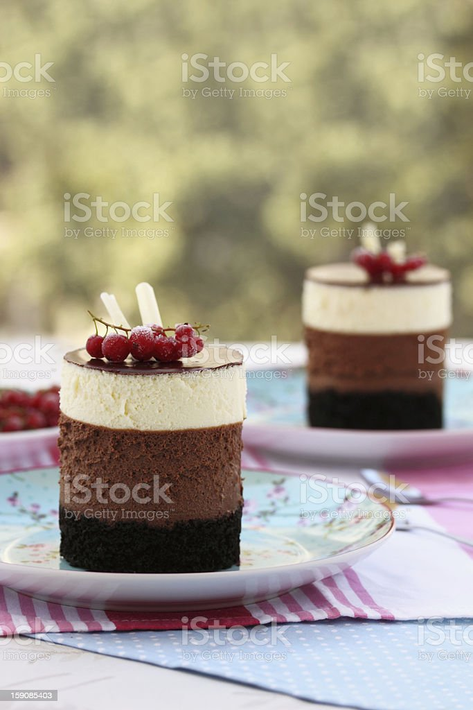 Tripple chocolate mousse cakes stock photo