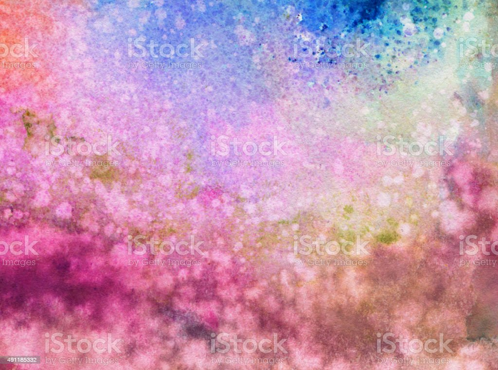 Trippy ink and watercolor background with distressed texture stock photo