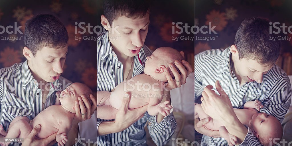 Triptych of photos father with son stock photo