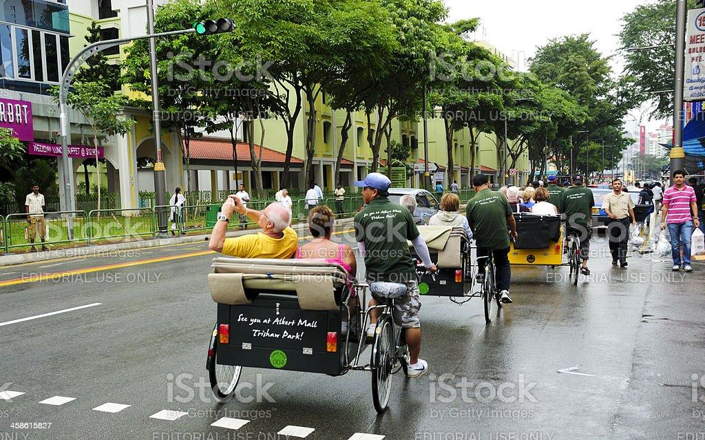 Trishaw Tourists, Singapore stock photo