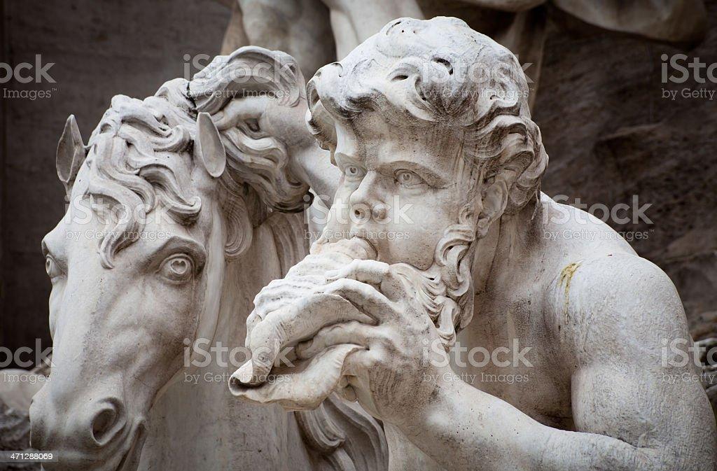 Triton and Sea Horse Trevi Fountain Details royalty-free stock photo