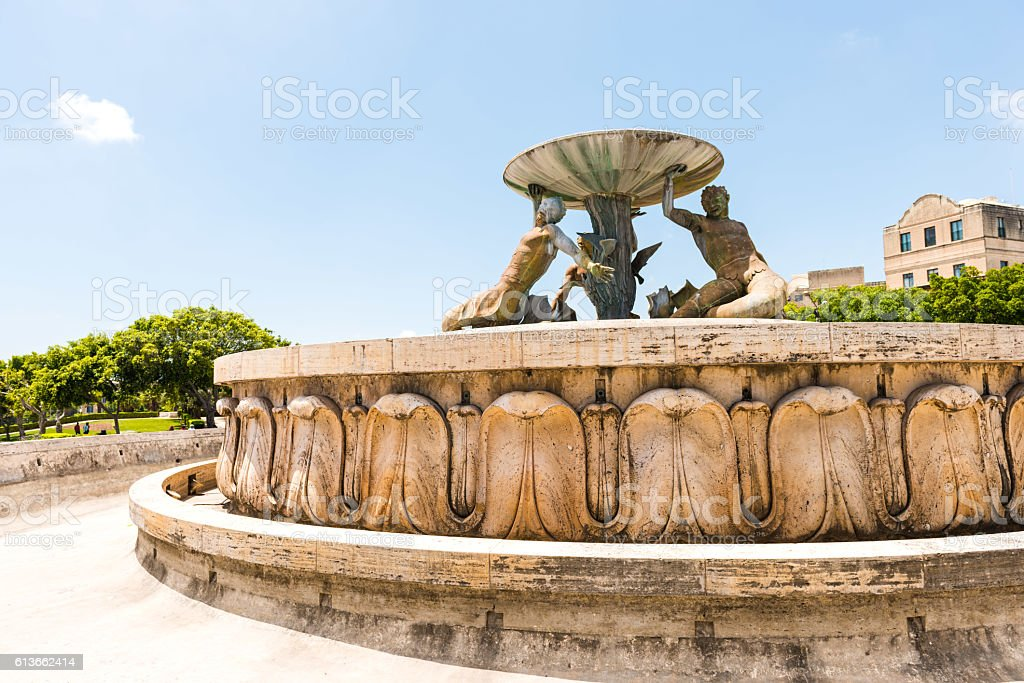 Triton Fountain in  Valletta stock photo