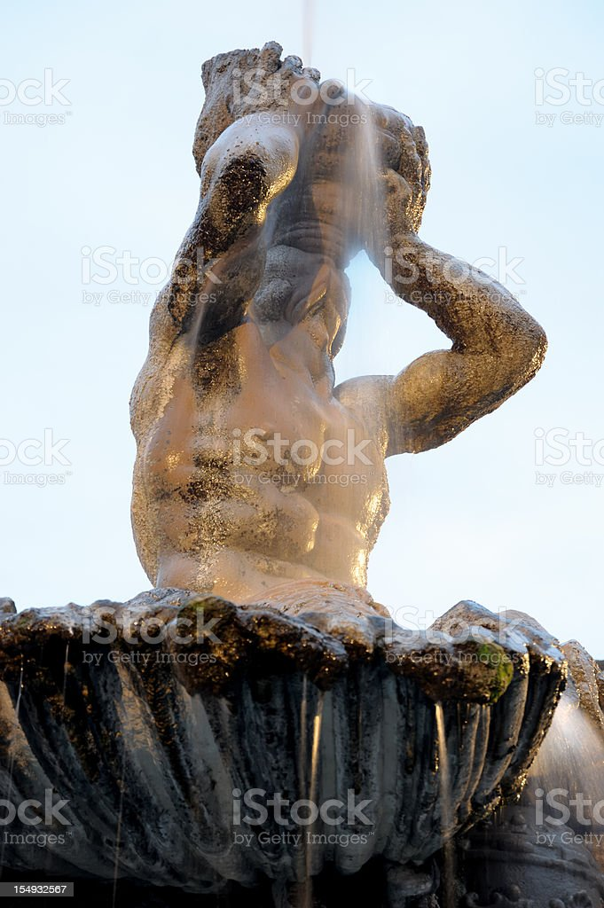 Triton Fountain - Piazza Barberini stock photo