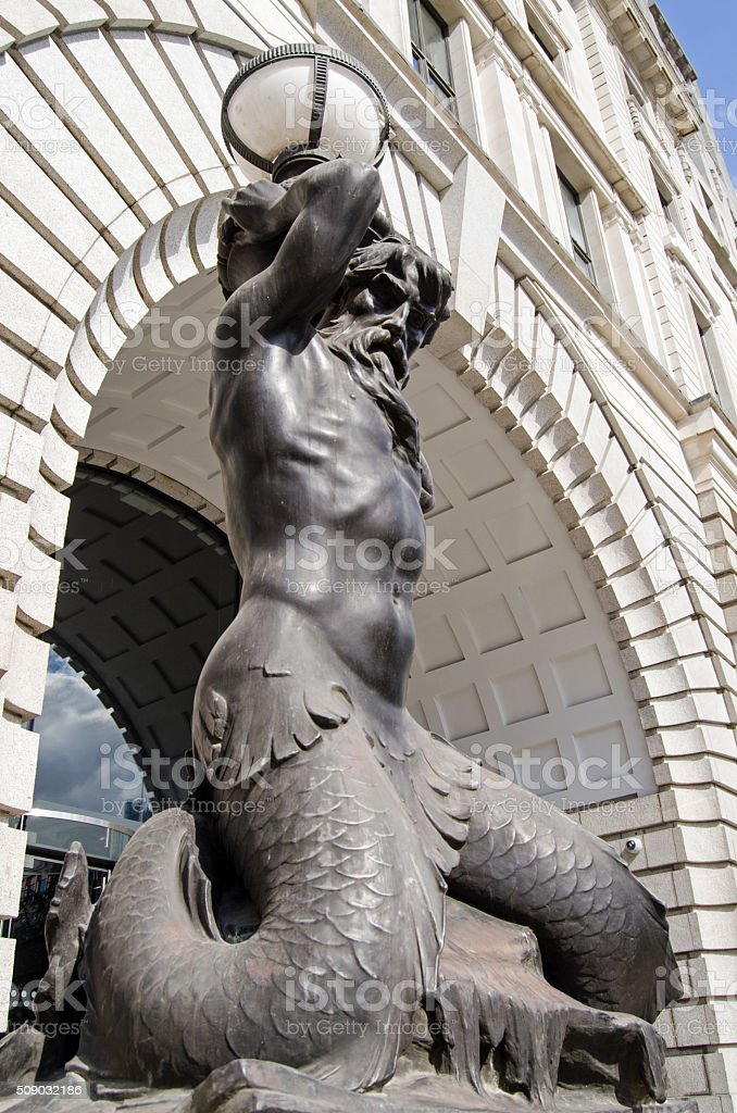 Triton lampost, London stock photo