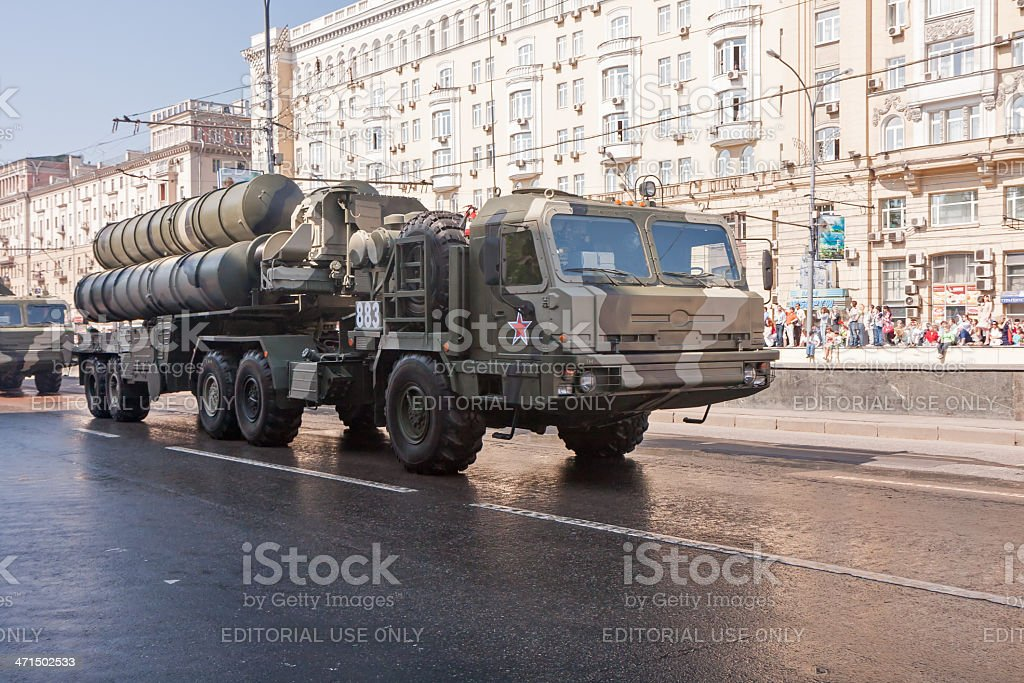 S-400 Triumf anti-aircraft weapon system on display during parade festivities royalty-free stock photo