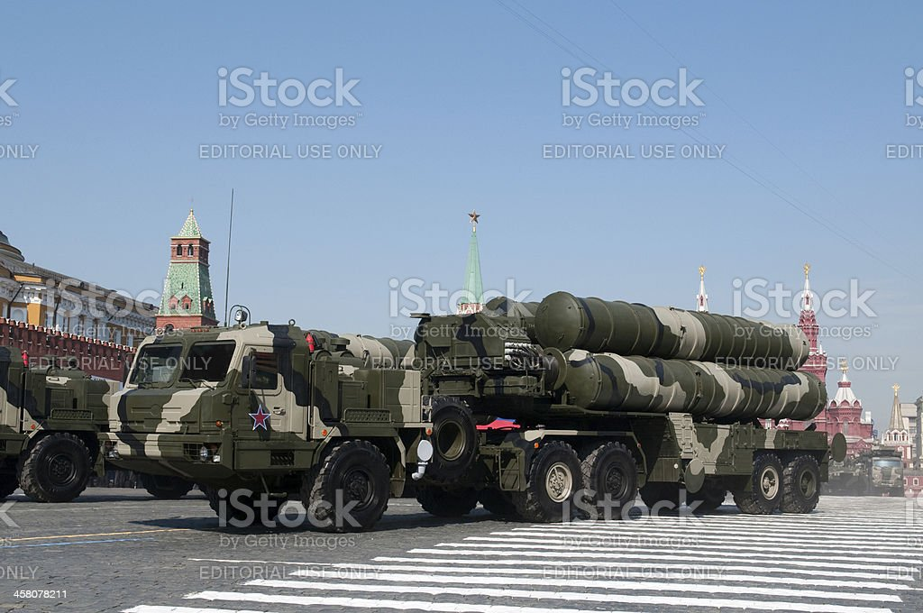 S-400 Triumf march along the Red Square royalty-free stock photo
