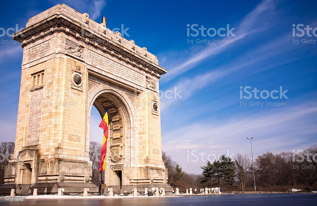 Triumph Arch in Bucharest Romania stock photo