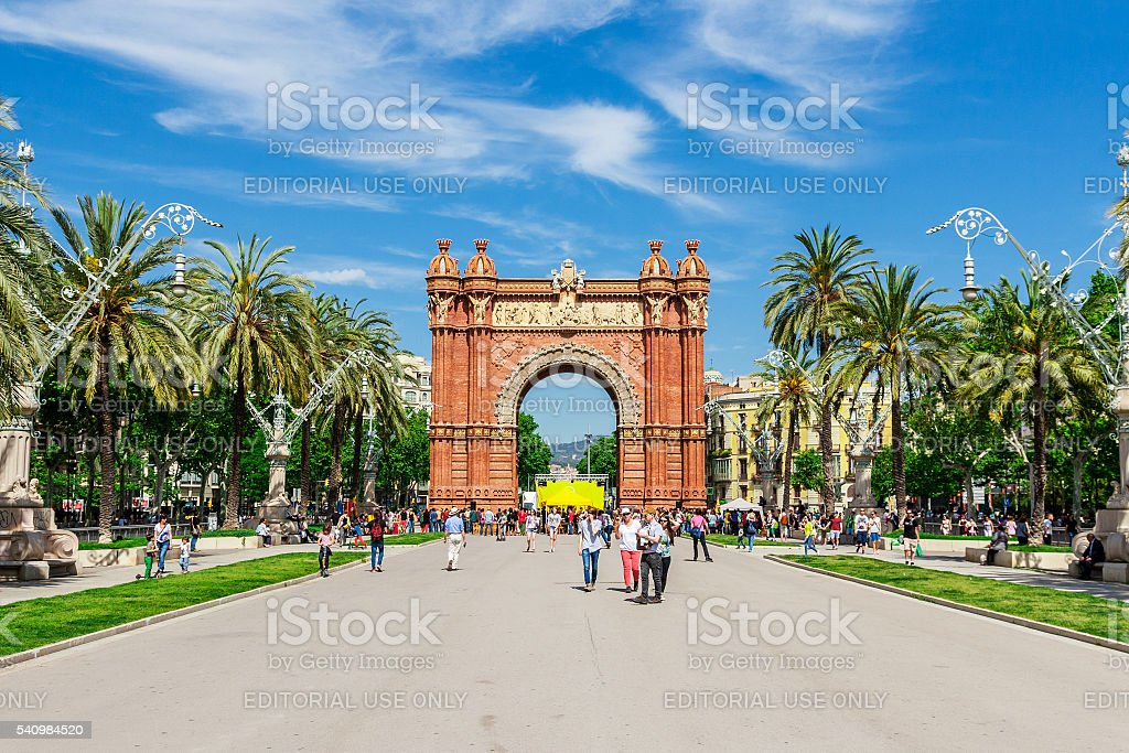 Triumph Arch of Barcelona in a summer day in Barcelona stock photo
