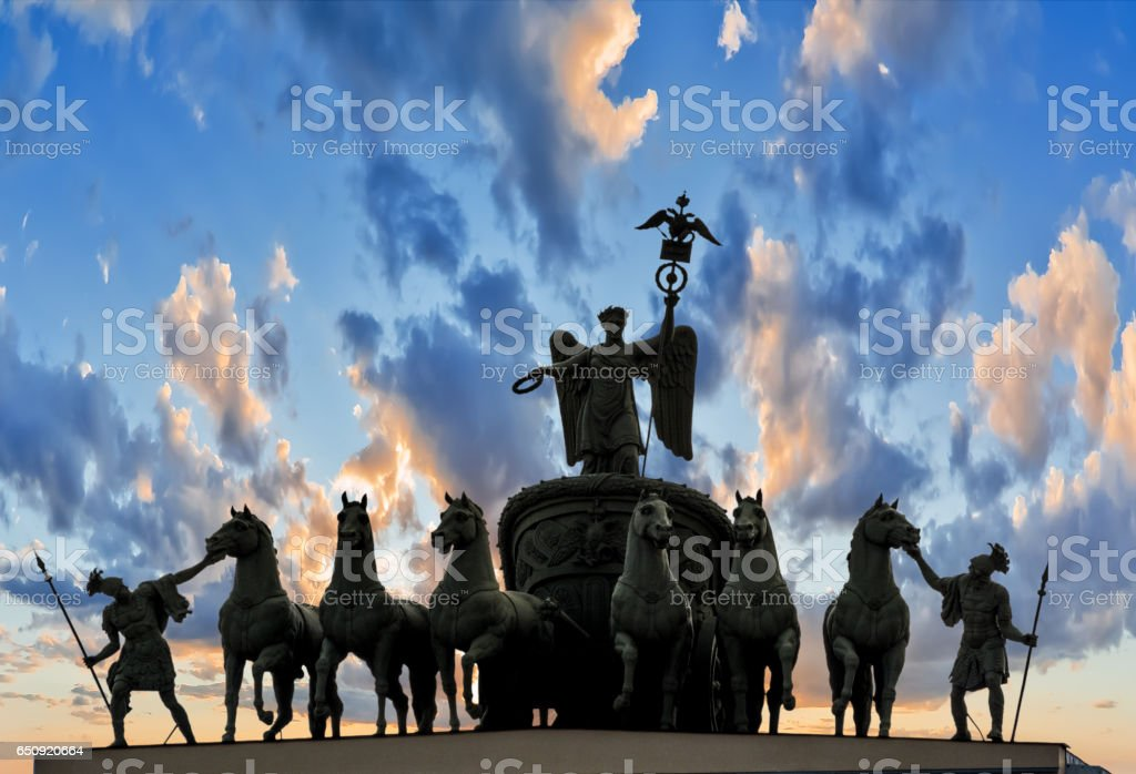 Triumphal Arch, crowned by the Chariot of Glory stock photo