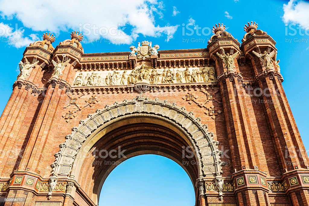 Triumphal arch in Barcelona stock photo