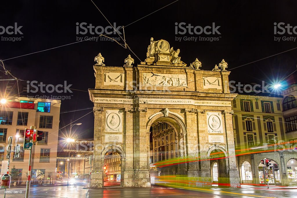 Triumphal Arch in Innsbruck at night - Austria stock photo