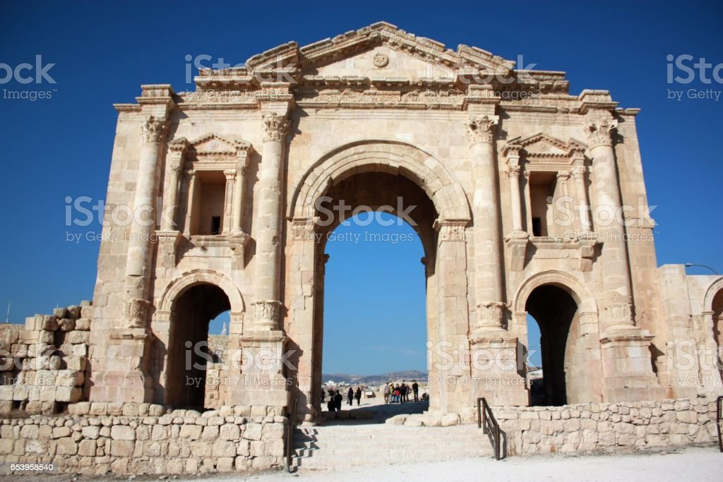 Triumphal Arch in Jerash in Jordan, Middle East stock photo