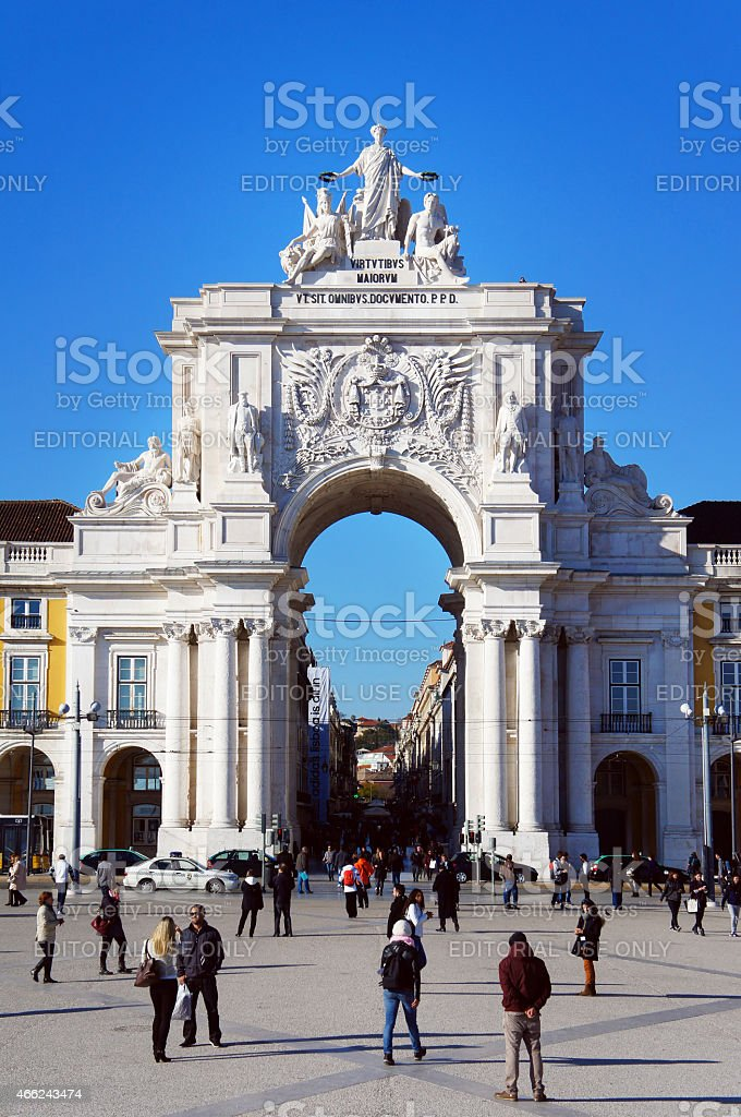 Triumphal Arch in the Lisbon stock photo