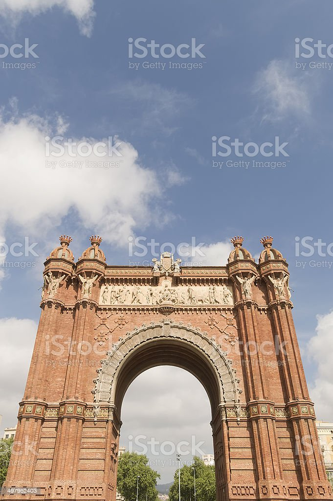 Triumphal arch made of brick. Barcelona, Spain stock photo