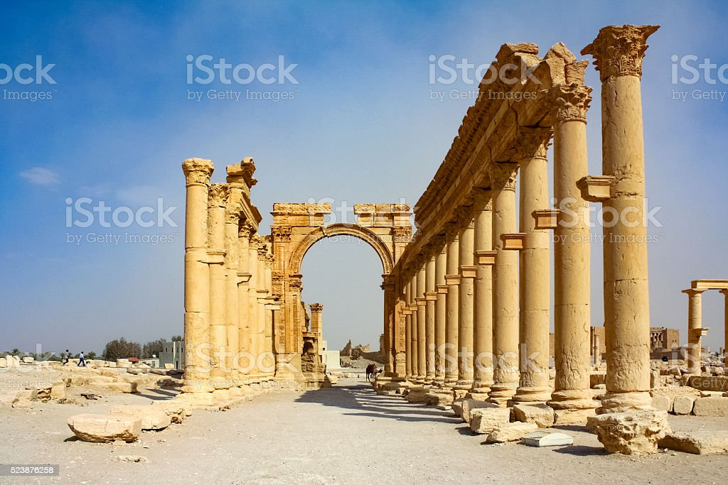 Triumphal Arch of Palmyra in Syria stock photo