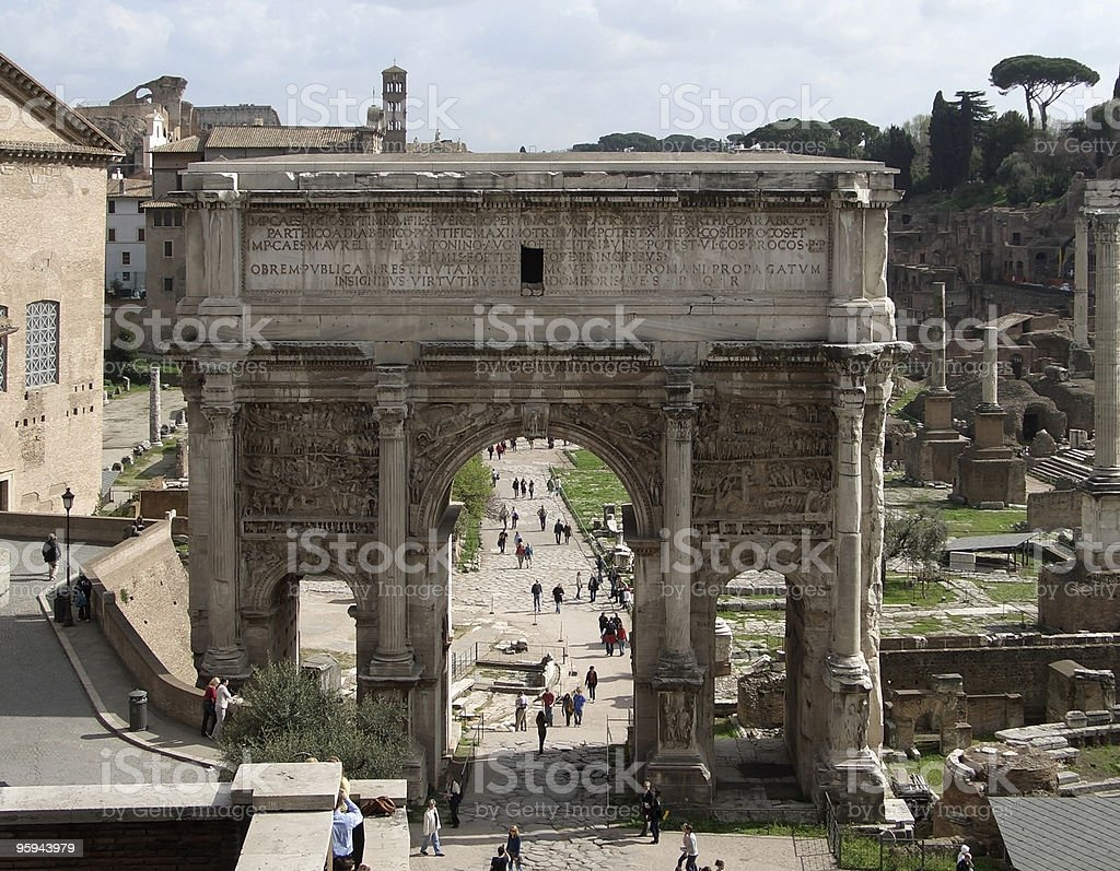 triumphal arch of Septimus Severus royalty-free stock photo