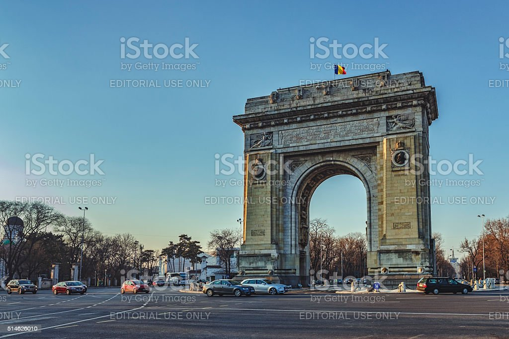 Triumphal Archm Bucharest, Romania stock photo