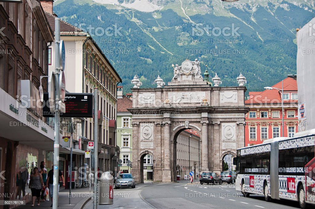 Triumphpforte in Innsbruck stock photo