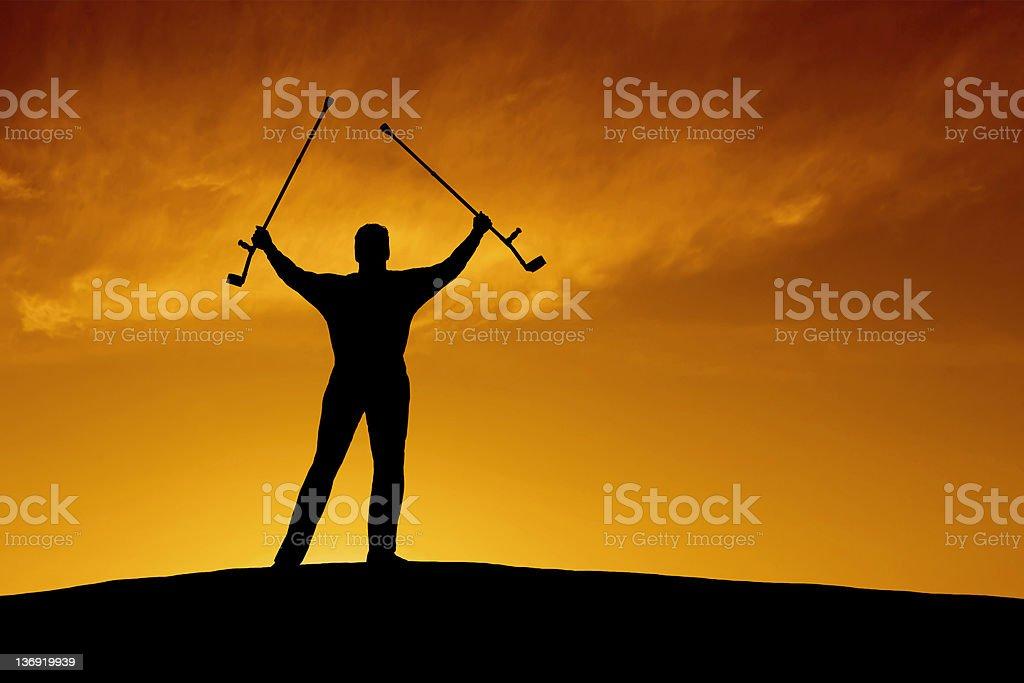XXL triumphant disabled man royalty-free stock photo