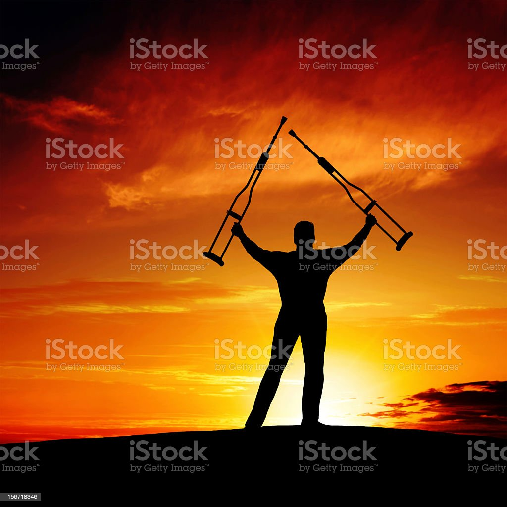 XXXL triumphant disabled man royalty-free stock photo