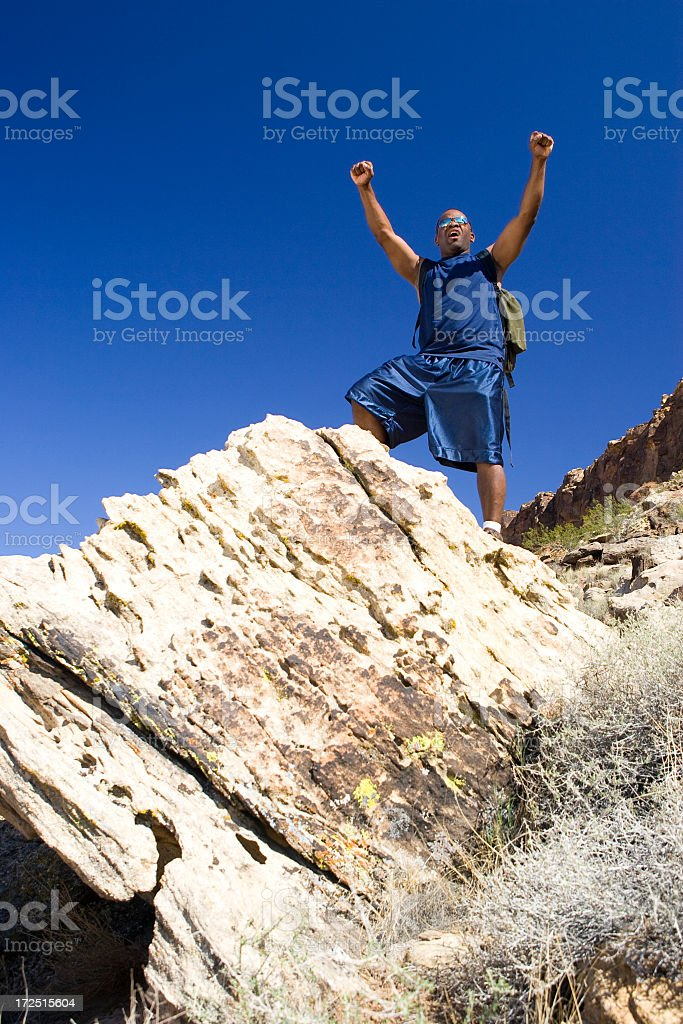 Triumphant Hiker on Top of the World stock photo