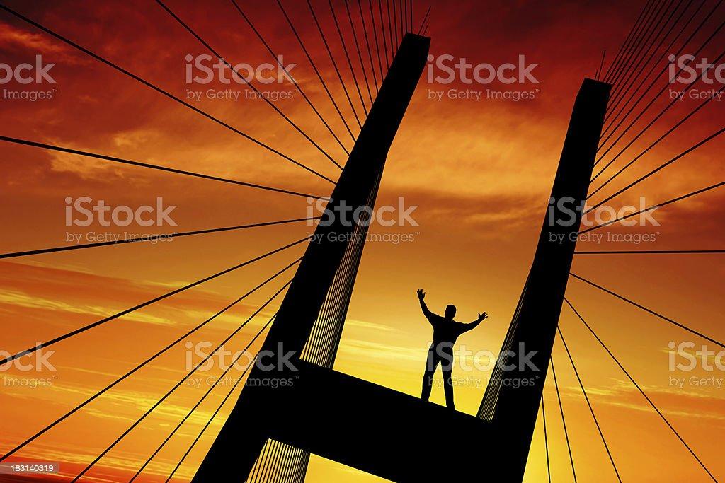 XXXL triumphant man silhouette royalty-free stock photo