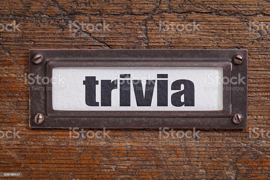 trivia - file cabinet label stock photo