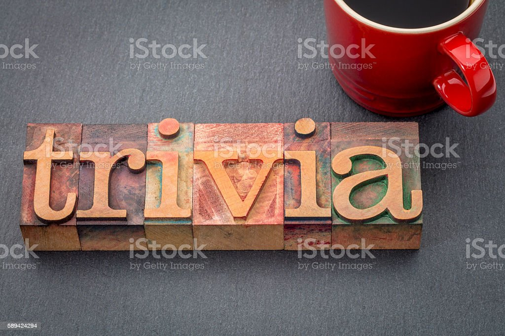 trivia word in letterpress wood type stock photo