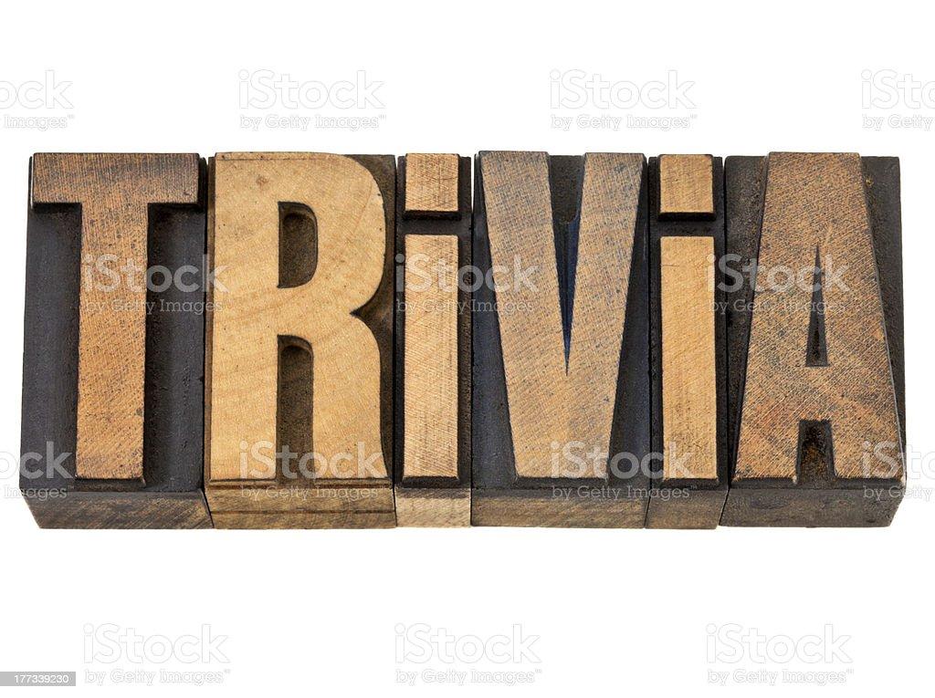 trivia word in wood type stock photo