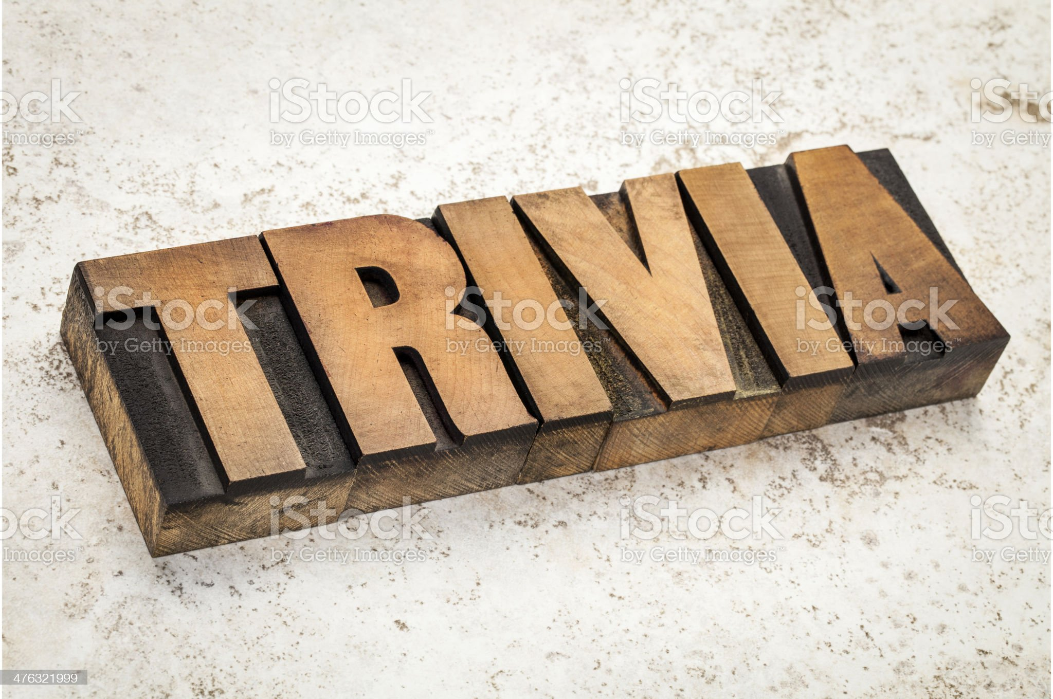 trivia word in wood type royalty-free stock photo