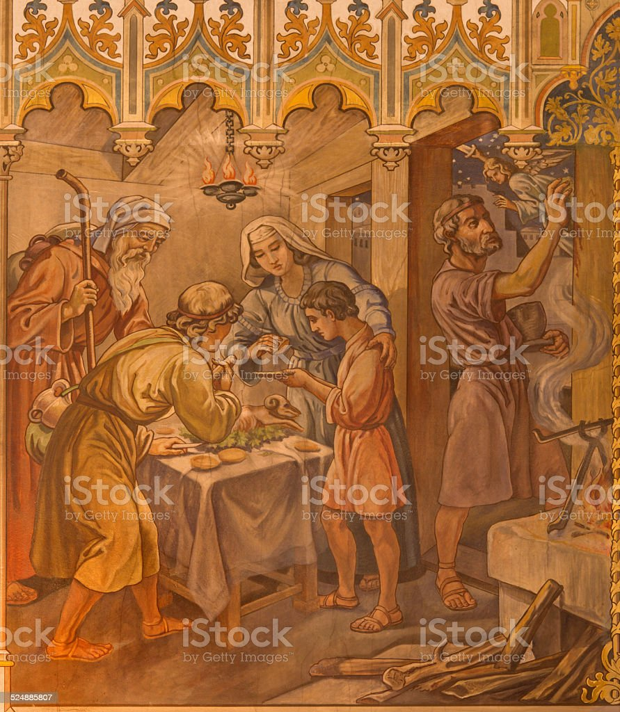Trnava - Israelites at Pesach supper over Lord's Passover stock photo