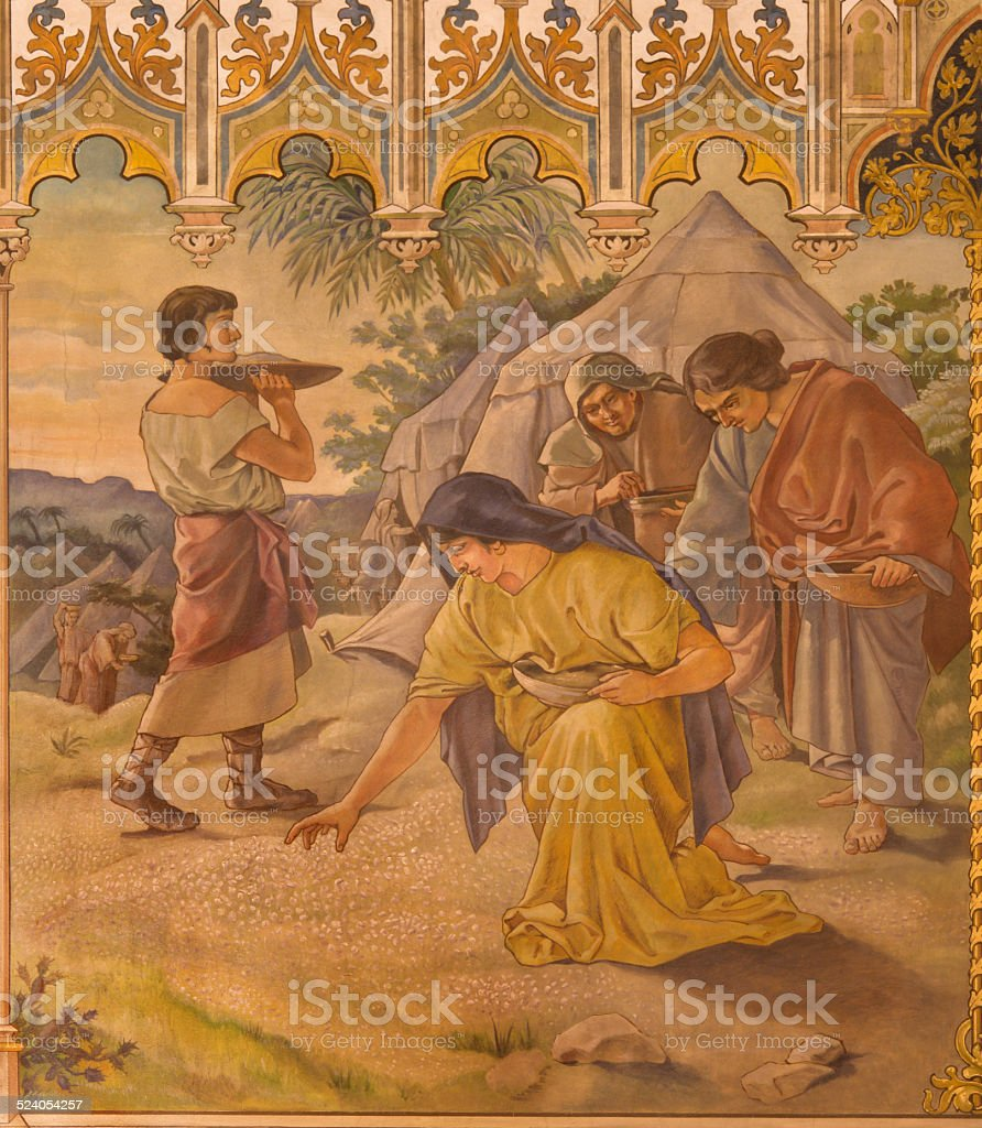 Trnava - neo-gothic fresco Israelites at gathering of manna stock photo