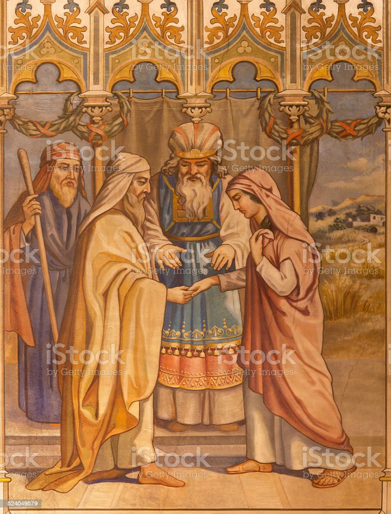 Trnava - neo-gothic fresco of Boaz and Ruth wedding stock photo