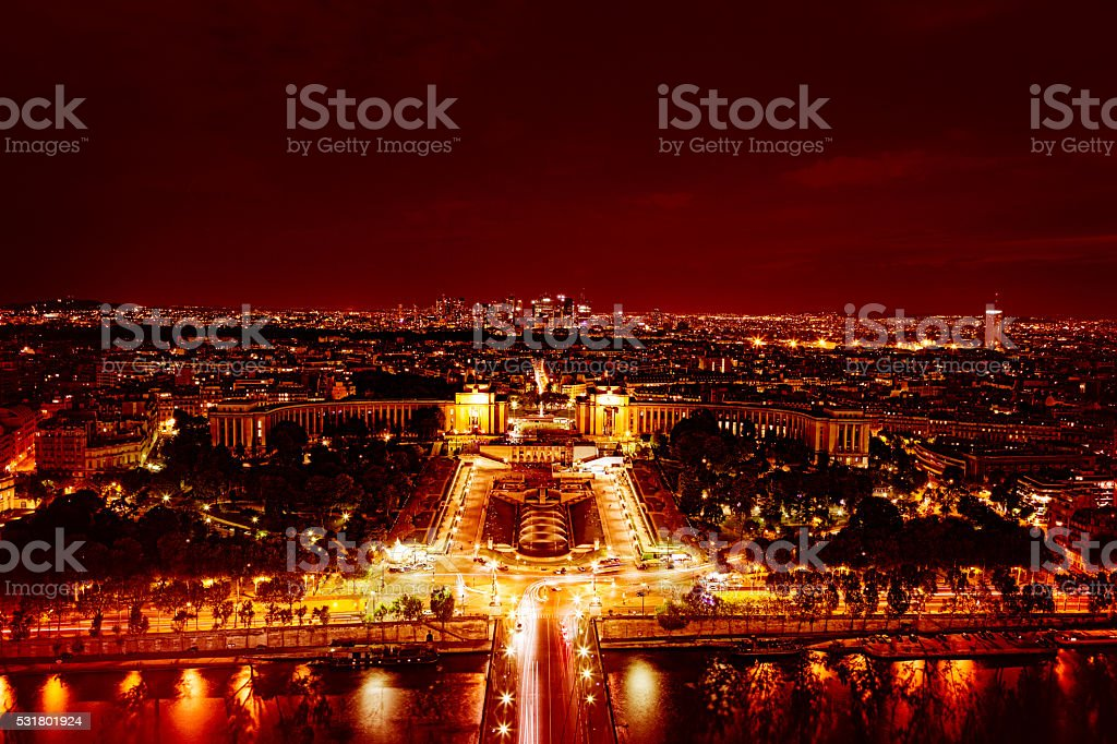 Trocadero and Seine River seen from Eiffel Tower at night stock photo
