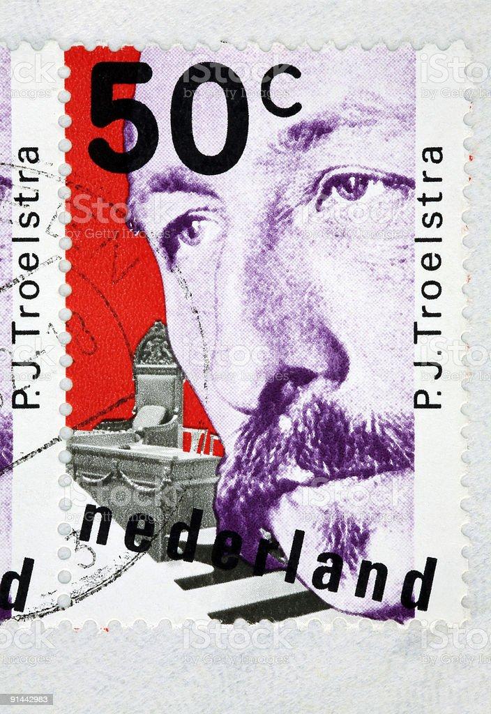 PJ Troelstra on stamp  (XL) royalty-free stock photo