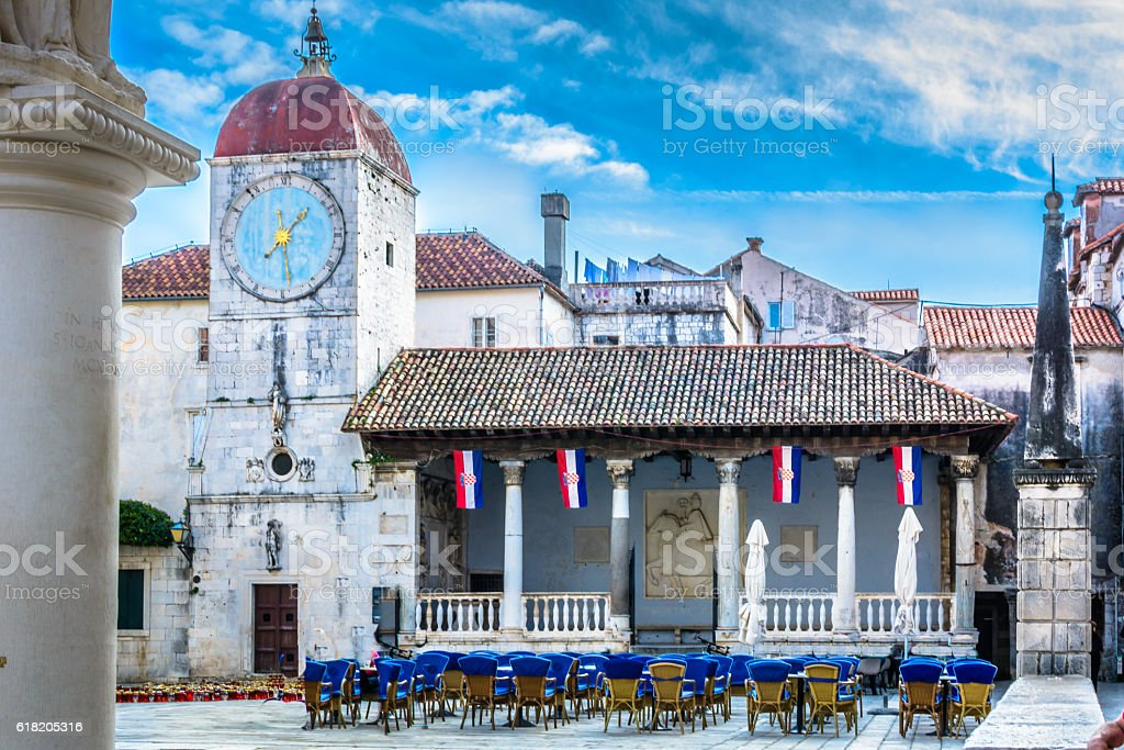 Trogir old town architecture. stock photo