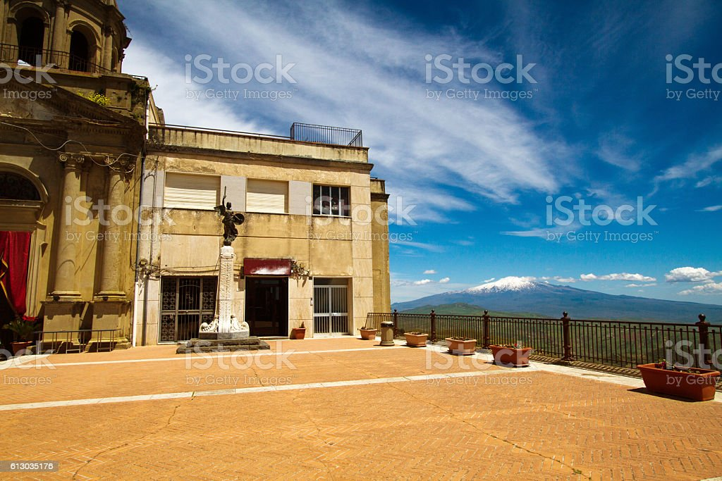 Troina, Sicily: Main Piazza and Church, Mt Etna in Background stock photo